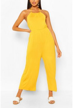 Chartreuse yellow Strappy Jersey Jumpsuit