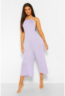 Lilac Strappy Jersey Jumpsuit
