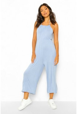 Pale blue blue Strappy Jersey Jumpsuit