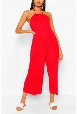 Red Strappy Jersey Jumpsuit