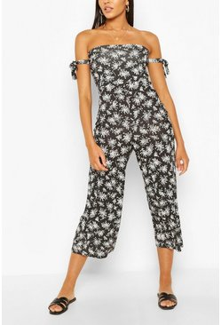 Black Ditsy Floral Tie Arm Jumpsuit