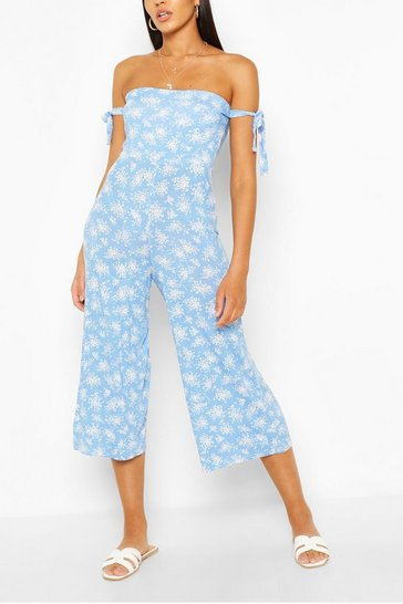 Blue Ditsy Floral Tie Arm Jumpsuit