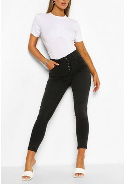 Washed black High Rise Exposed Button Stretch Skinny Jean