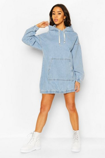 Light blue blue Hooded Denim Pullover Dress