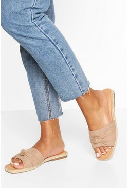 Tan Knot Front Square Toe Sliders