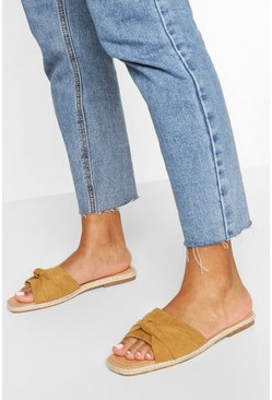 Tan brown Knot Front Square Toe Sliders