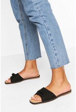 Black Knot Front Espadrille Sliders