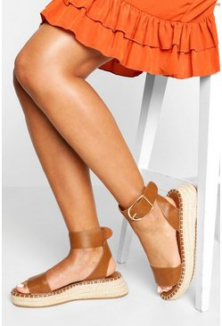 Tan brown 2 Part Flatform Espadrilles