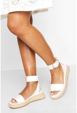 White 2 Part Flatform Espadrilles