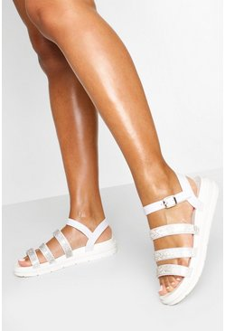 White Diamante Triple Strap Jelly Sandals