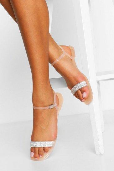 Nude Diamante Strap Jelly Sandals