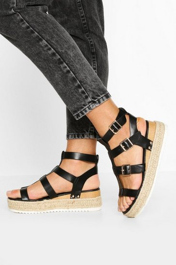 Black Multi Strap Gladiator Flatforms