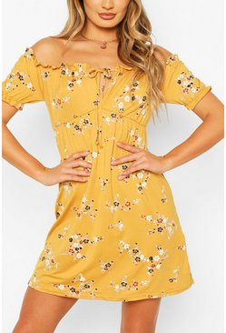 Mustard Floral Ruffle Detail Baby Doll Dress