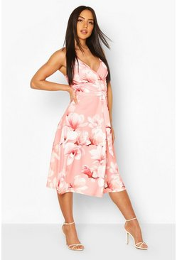 Coral pink Floral Print Wrap Front Midi Skater