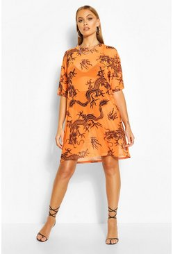 Dragon Print Mesh T-Shirt Dress, Orange