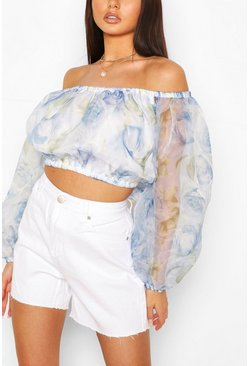 Blue Rose Print Organza Bardot Top
