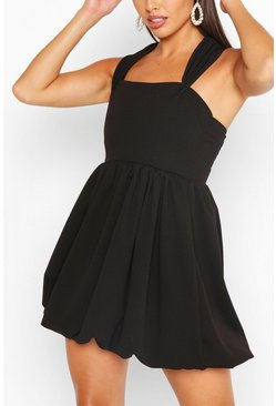 Black Bardot Puffball Skater Dress