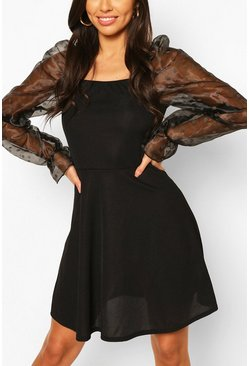 Black Organza Long Puff Sleeve Rib Skater Dress
