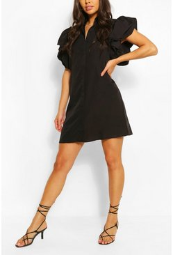Black Puff Sleeve Shirt Dress