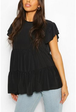 Black Frill Sleeve Smock Top