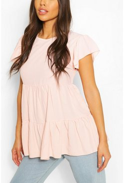 Blush pink Frill Sleeve Smock Top