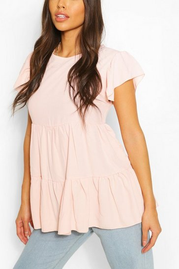 Blush pink Nude Frill Sleeve Smock Top