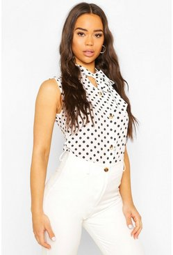 White Sleeveless Polka Dot Pussybow Blouse