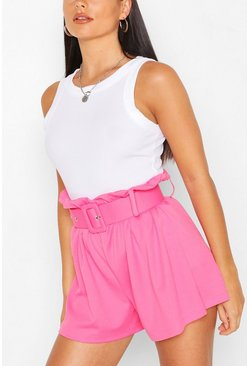 Pink Tailored Paper Bag Belted Shorts