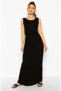 Black Recycled Basic Blouson Maxi Dress