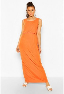 Orange Recycled Basic Blouson Maxi Dress