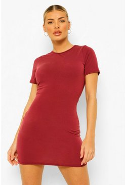 Berry red Recycled Basic Short Sleeve Mini Dress