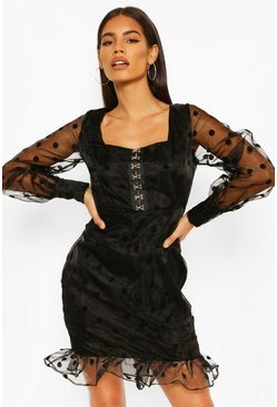 Black Organza Flocked Hook And Eye Mini Dress