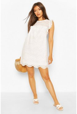 White Broderie Anglais Tie Neck Drop Hem Shift Dress