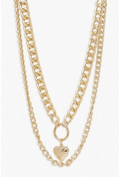 Chunky Chain Heart Layer Necklace, Gold