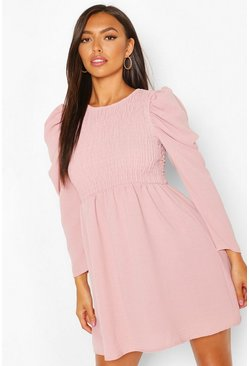 Sage Shirred Puff Sleeve Skater Dress