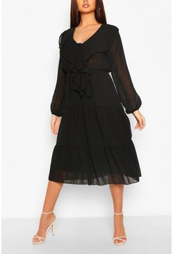 Black Chiffon Ruffle Front Midi Dress