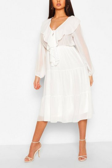 White Chiffon Ruffle Front Midi Dress