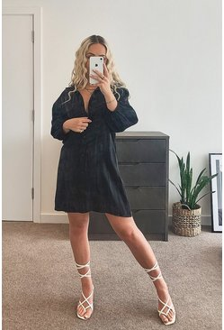 Black Metallic Long Sleeve Shirt Dress