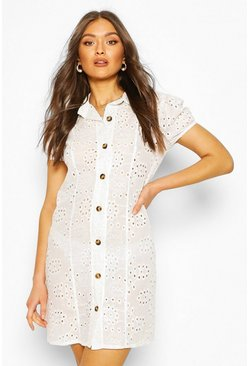 White Broderie Anglais Short Sleeve Shirt Dress