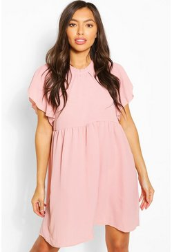 Rose pink Frill Sleeve And Neck Smock Dress