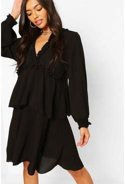 Black Ruffle Detail Short Sleeve Smock Dress