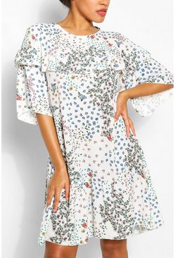 White Ditsy Floral Ruffle Drop Hem Smock Dress