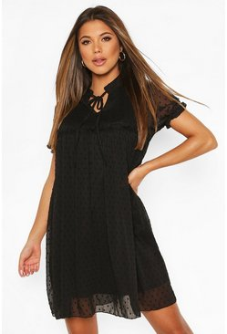 Black Dobby Ruffle Short Sleeve Smock Dress
