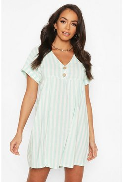 Mint Linen Look V Neck Button Smock Dress