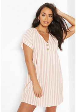 Rose pink Linen Look V Neck Button Smock Dress