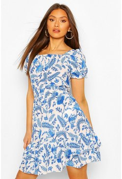 Blue Floral Square NeckShirred Skater Dress