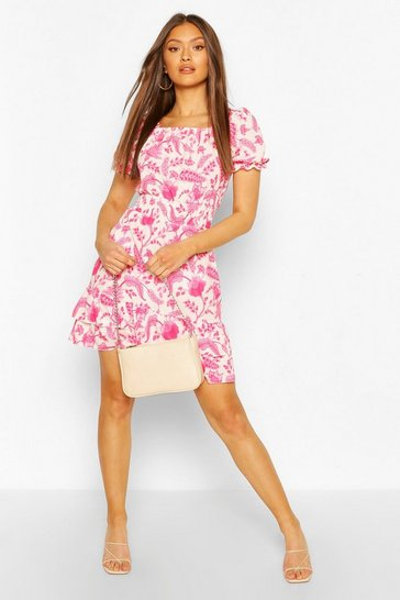 Pink Floral Square NeckShirred Skater Dress