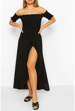 Black Shirred Off The Shoulder Maxi Dress