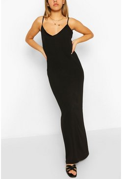 Black Plain Strappy Maxi Dress