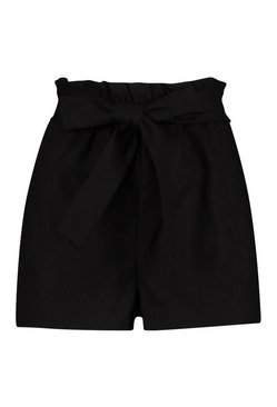 Black Linen Look Paperbag Shorts